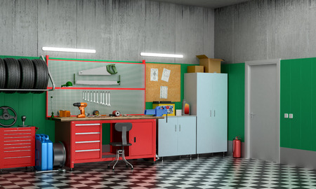 cooler boxes: Interior garage with car parts and tools. 3D illustration