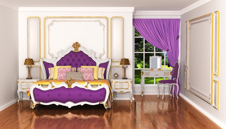 Expensive interior of bohemian bedroom. Luxury bedchamber, textured wall with molding, mahogany parquet flooring. Baroque style. 3d illustration