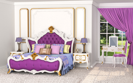 Baroque in the interior. Luxurious bedroom with bed and wall decorations in gold colors. 3D illustration Stock Photo