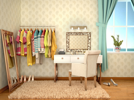 bring up: room to bring myself up from dressing table. 3d illustration Stock Photo