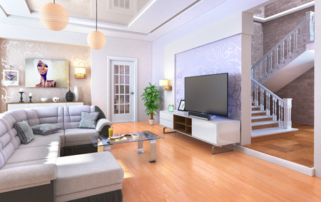 fixtures: Modern living room with wood floor. 3d illustration