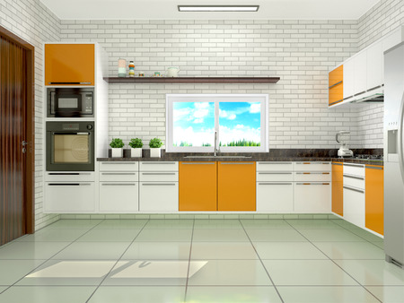 modern kitchen: Bright kitchen in a modern style. 3d illustration