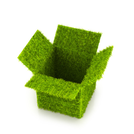 Open box covered with grass. Green box isolated on white background. 3D illustration