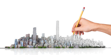 Urban skyline. Hand with pencil in process of drawing city horizon on a white background. ?ity planning. 3d illustration Stock Photo
