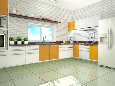 modern kitchen: Bright kitchen in a modern style. 3d illustration