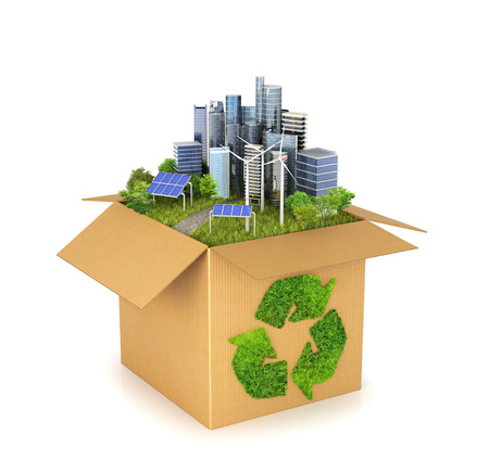 Urban landscape, trees, skyscrapers, solar panels in carton box. Grassy recycle sign.  3D illustration