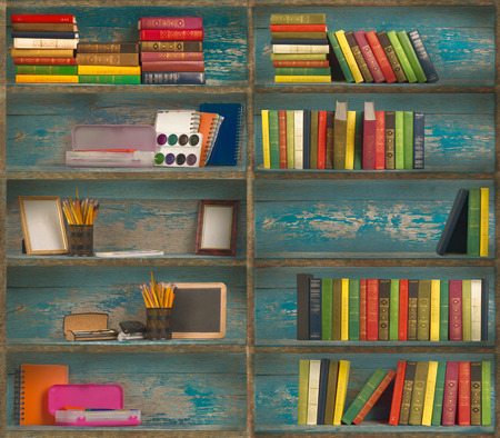 stationery items: stationery items are on wooden shelves Stock Photo