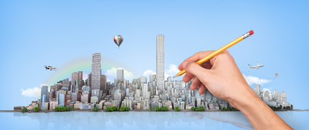 Urban skyline. Hand with pencil in process of drawing city horizon on a sky background. ���¡ity planning. 3d illustration