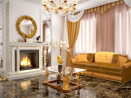 showcase interiors: Luxurious living room with fireplace. 3d illustration