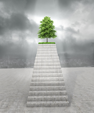 Eco concept, purpose, protection of the environment and humanity in it. A concrete staircase going to the top where there is a green tree on the background of a ruined city. 3d illustration