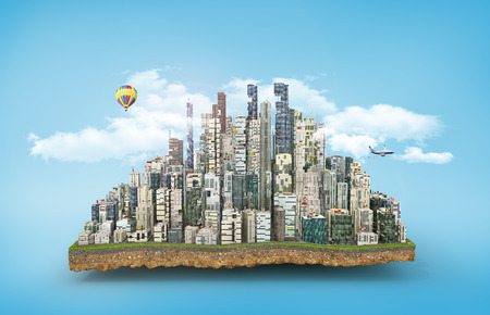 Concept of eco city. Modern city with skyscrapers on the patch of land on blue background. 3d illustration Stock Photo