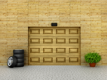 garage doors: Garage concept. Garage doors and tire with plant around. 3d illustration Stock Photo
