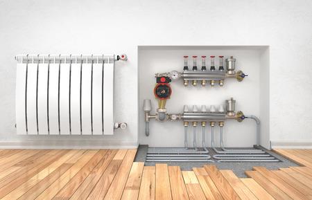 Heizung Konzept. Fußbodenheizung mit Kollektor im Raum. Konzept der Technologie Heizung. 3D-Darstellung