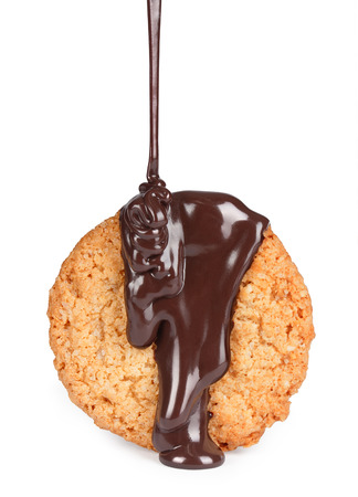 Cookies in chocolate on a white background