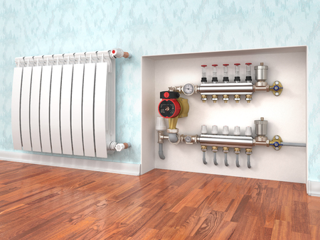 Heating concept. Underfloor heating with collector in the room. Concept of technology heating. 3d illustration Stok Fotoğraf