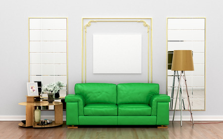 green sofa: green sofa against the wall with decor and blank white canvas on the wall. 3D illustration