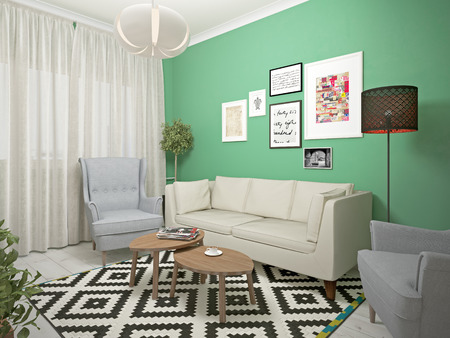 interiors: small living room interiors. 3d illustration