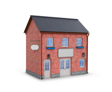 brick house: House on a white background. two-story brick house on a white background. 3D illustration
