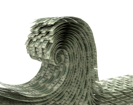 dollar bill: The wave of money on a white background. Wave dollars. 3D illustration
