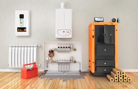 Concepto de calefacción. calefacción por suelo radiante con el colector en la habitación. Concepto de calefacción tecnología. 3d ilustración Foto de archivo - 69050493