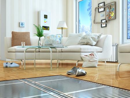 Verwarming concept. Vloerverwarming. Lagen vloerverwarming in de kamer. 3D illustratie