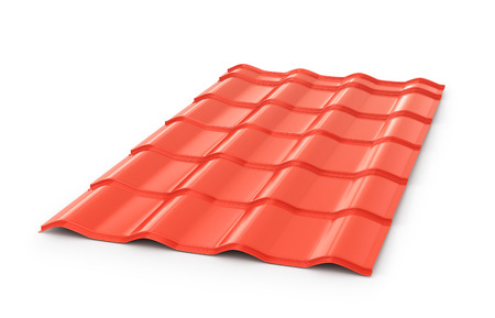 Red corrugated tile element of roof. Isolated on white background. 3d illustration Stock Photo