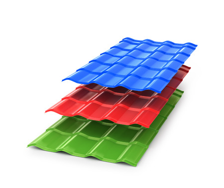 roof shingles: Colorful metal sheet. Cover for buildings and houses. 3D illustration