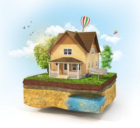 realization: Concept of home. House in the grass on a piece of earth on a sky background. Rent, buy and realization concept. 3d illustration Stock Photo