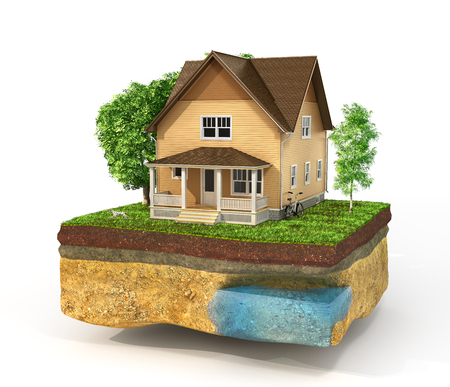 realization: Concept of home. House in the grass on a piece of earth isolated on a white. Rent, buy and realization concept. 3d illustration