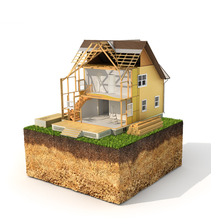 house building: Concept of building. House in process of building on a piece of earth on a white background. We see layers of heating. 3d illustration
