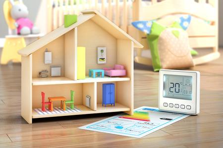 Verwarming concept. Kind speelgoed huis met vloerverwarming in het kind interieur. 3d illustratie