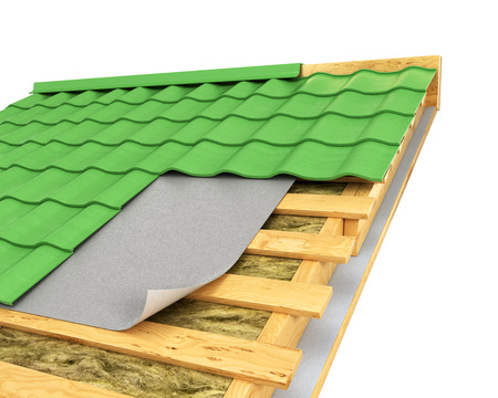 insulation on the roof. 3D illustration