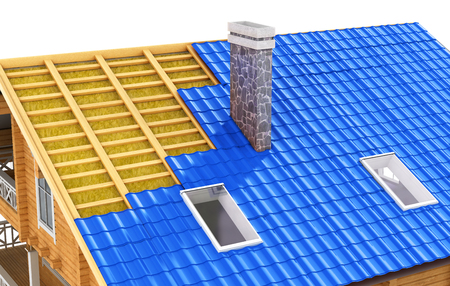 Roof in cut. The demonstration roof insulation. 3D illustration Stock Photo