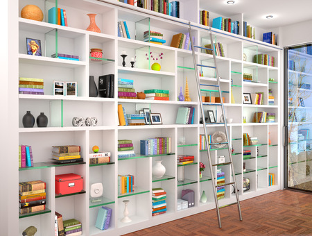 filled: 3d illustration of White shelves in the interior with various objects