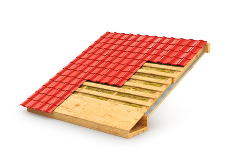 wood paneling: roof in terms. The demonstration roof insulation. 3D illustration Stock Photo