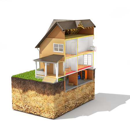 roofing system: Concept of design. Sliced house with isolated layers of heating on the piece of soil. 3d illustration