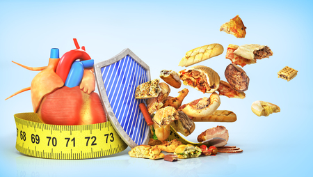 Concept of healthy food. Heart protection medical concept. Shield protecting the cardiovascular organ from unhealthy food. 3d illustration