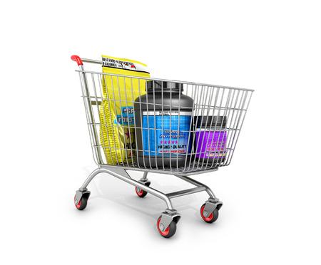 supplementation: Sport nutrition in the shopping cart. 3D illustration