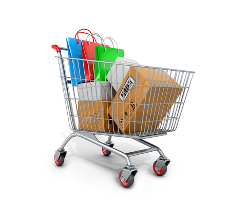 Shopping cart with boxes and bags on white background. 3D illustration. Stock Photo