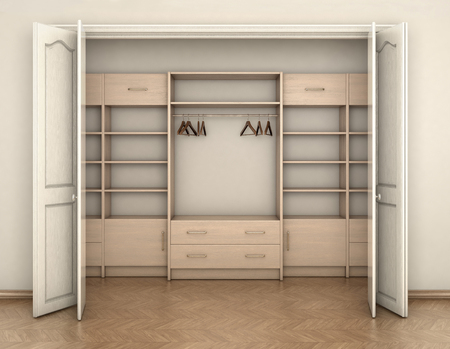 empty room interior and big white empty closet; 3d illustration 스톡 콘텐츠