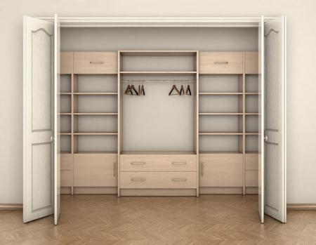 empty room interior and big white empty closet; 3d illustration Archivio Fotografico
