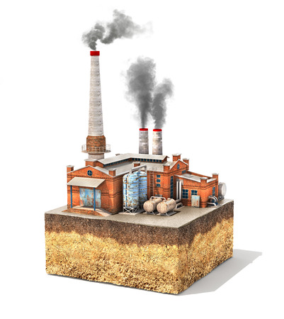 distillation: Pollution concept. Factory standing on cross section of ground isolated on white. Industry. 3d illustration