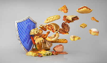 Concept of healthy food. Attack of unhealthy food. Shield protect us unhealthy food. 3d illustration Stock Photo
