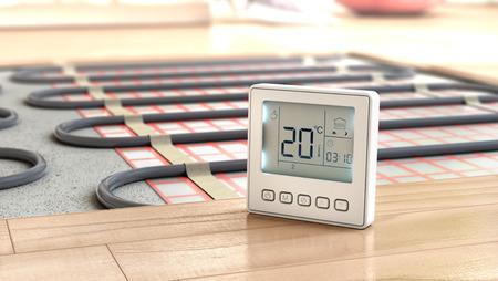 Verwarmingskoncept. Vloerverwarming. Lagen verwarming vloer in de kamer. 3d illustratie