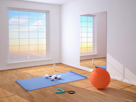 saltar la cuerda: Entrenamiento físico. Mat, bola, saltar la cuerda, pesas. Foto de archivo