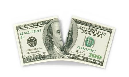 big break: Torn Dolar on a white background. 3D illustration.