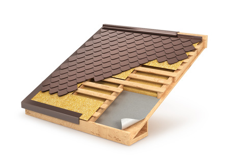 Building system roof, tile, design & installation, 3D illustration Stock Photo