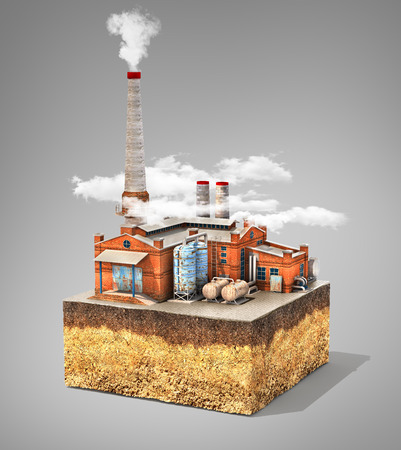 Pollution concept. Factory standing on cross section of ground. Industry. 3d illustration Stock Photo