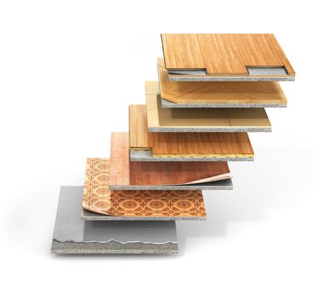 vloertypes coating. Vloeren Installatie. Stukken van andere verdieping coating. Parket, laminaat, houten plank, tegels, beton. 3d illustratie Stockfoto