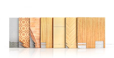 flooring: Floor types coating. Flooring Installation. Pieces of different floor coating. Parquet, laminate, wooden plank, tiles, concrete. 3d illustration Stock Photo
